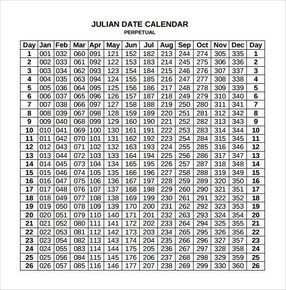 Free Printable Julian Calendar 2020 Blank Template for 2020 Julian Calendar
