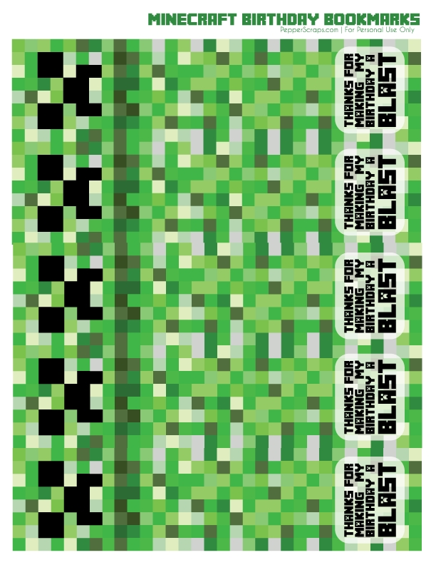 Free Printable Minecraft Birthday Bookmarks – Pepper Scraps in Free Minecraft Printable Schedule