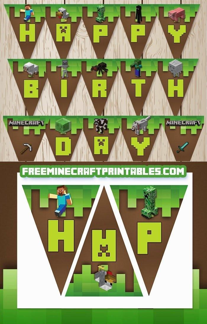 Free Printable Minecraft Happy Birthday Banners. - Oh My within Free Minecraft Printable Schedule Image