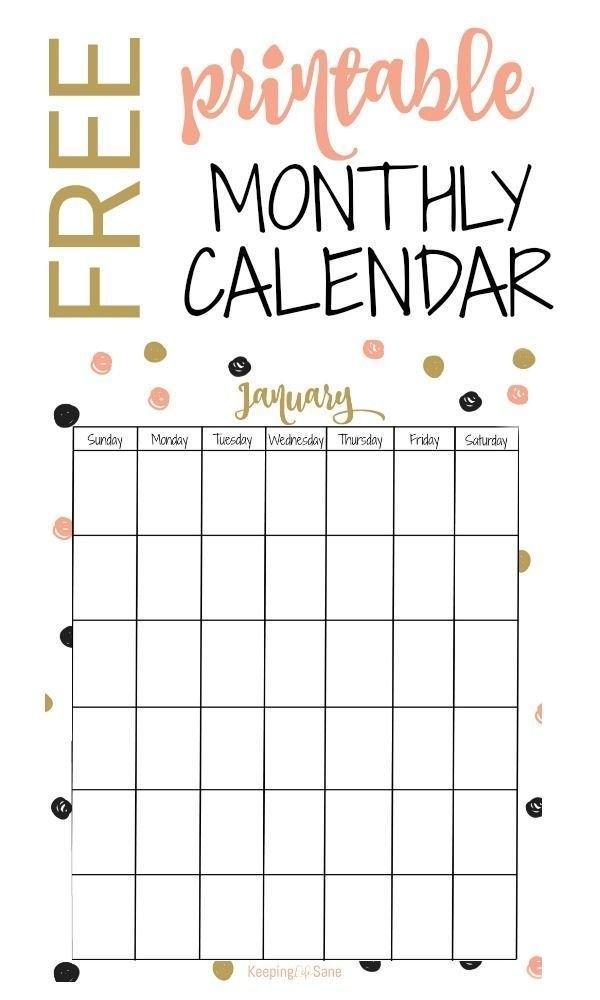 Free Printable Monthly Calendar | Free Printable Calendar inside Calander You Can Write In
