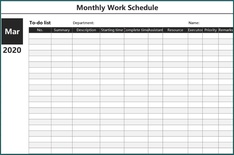 Free Printable Monthly Employee Schedule Template | Bogiolo inside Free Monthly Shift Schedule