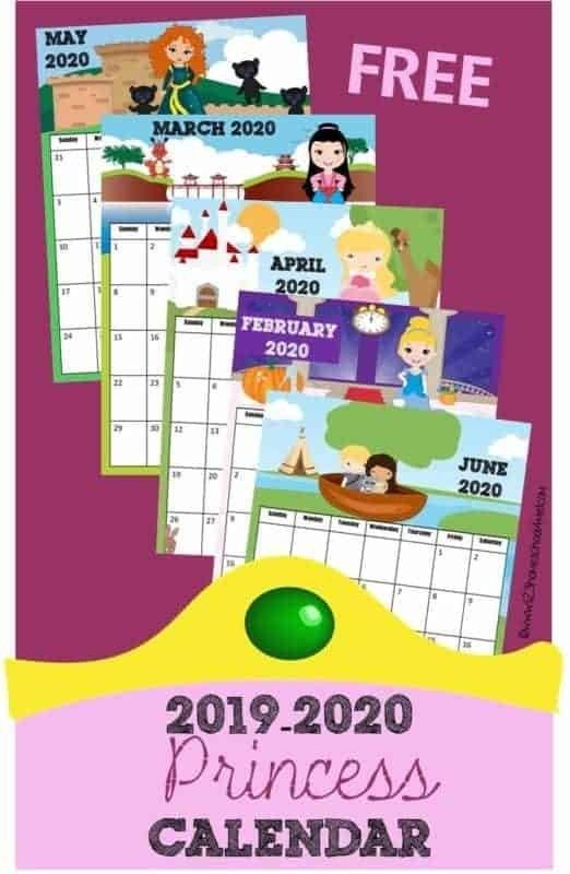 Free Printable Princess Calendar 2019-2020 in Print Out Frozen Printable Calendar Graphics