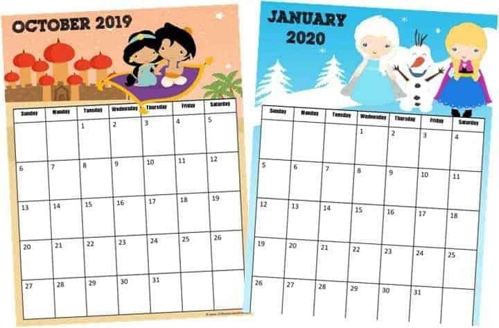 Free Printable Princess Calendar 2019-2020 with regard to Print Out Frozen Printable Calendar