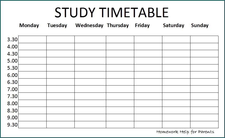 Free Printable Study Schedule Template | Bogiolo regarding Printable Sunday-Saturday Schdeule Graphics
