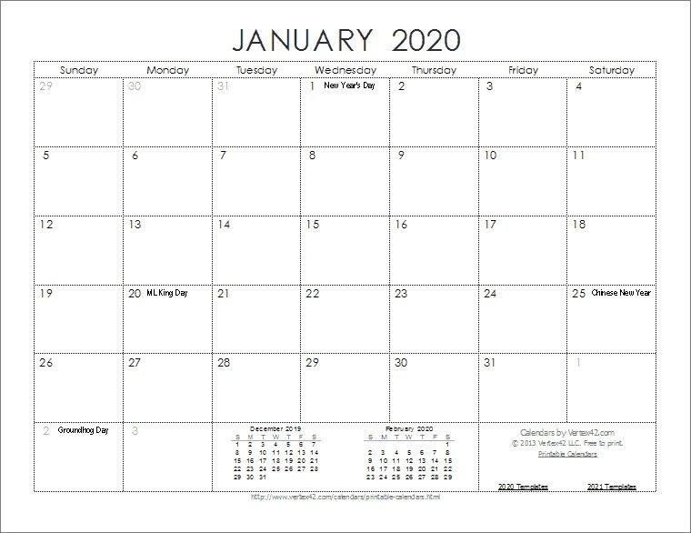 Free Printable Weekly Calendar 2020   Monthly Calendar for Printable 2020 Monthly Calendar Template