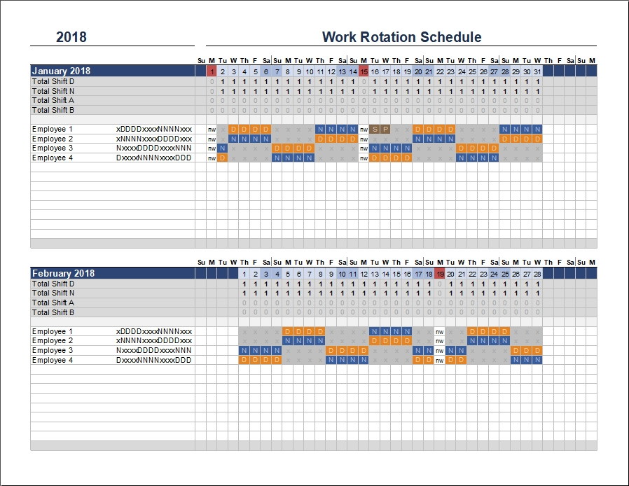 Free Rotation Schedule Template inside Printable Monday Through Sunday With Day And Night Shift