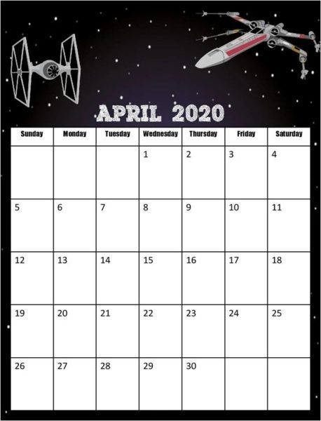 Free Star Wars Calendar 2019-2020 inside Printable Star Wars Calendar Photo