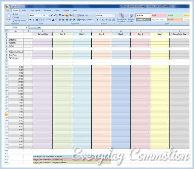 Free Vacation Planning Spreadsheet To Download (My Disney with Disney World Planning Calandr Template Graphics