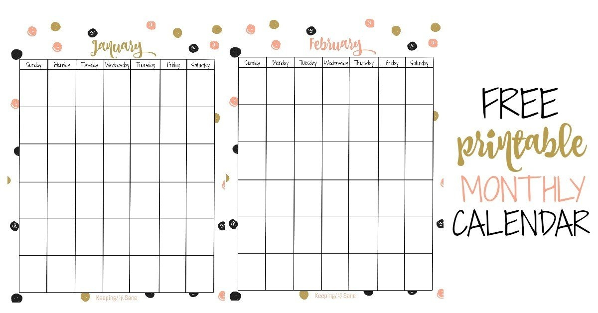 Free Vertical Printable Monthly Calendar - Keeping Life Sane intended for Monthly Calendar Printable