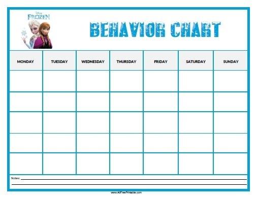 Frozen Behavior Chart - Free Printable - Allfreeprintable within Print Out Frozen Printable Calendar Graphics