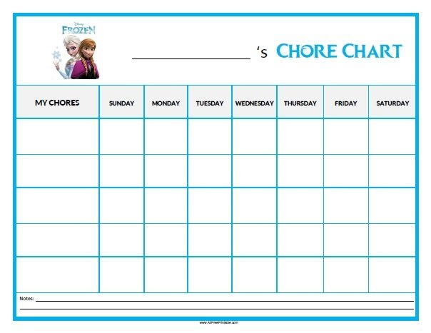 Frozen Chore Chart - Free Printable - Allfreeprintable within Print Out Frozen Printable Calendar Graphics