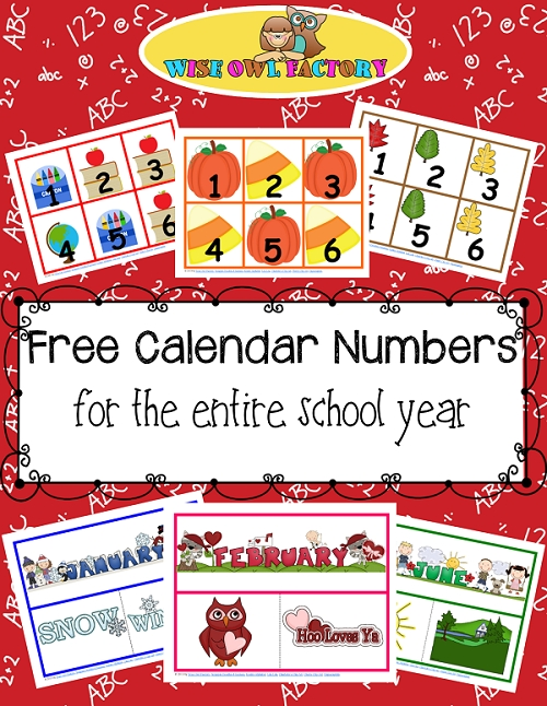 Full Year Of Calendar Numbers Printable Free Pdfs • Wise Owl regarding Wise Owl Factory Editable Calendar Graphics