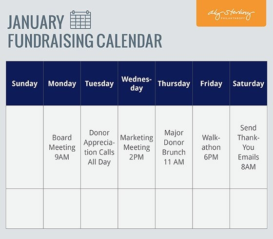 Fundraising Plan Calendar | Aly Sterling Philanthropy pertaining to Calender Number Fundrasier