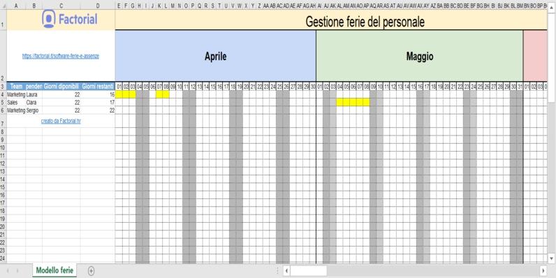 Gestione Ferie Dipendenti - Modello 2020 [Download Excel Gratis} with Piano Ferie Modelli Da Scaricare