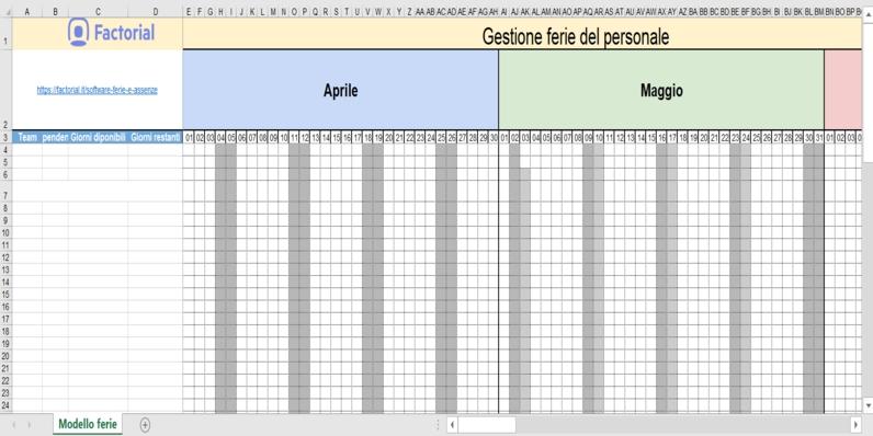 Gestione Ferie Dipendenti - Modello 2020 [Download Excel Gratis} with regard to Piano Ferie Modelli Da Scaricare Image