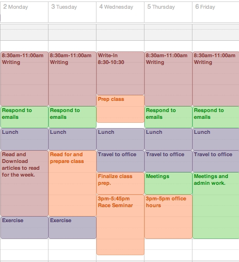 Get A Life, Phd: Start The Semester Off Right: Make A Weekly with regard to Color Coded Schedule Template