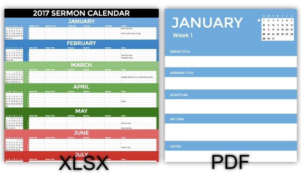 Get This Great 2017 Sermon Calendar | Sermon, Daily for Preaching Schedule Template
