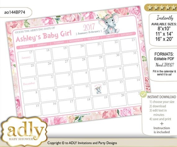 Girl Elephant Guess Due Date Calendar For Baby Shower, Predictions  Printable, Baby Arrival Date, Pink, Rose - Ao144Bp74 regarding Guess The Due Date Calendar Template February 2020 Graphics