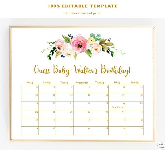 Guess Baby Birthday, Baby Due Date Calendar, Due Date in Printable Baby Due Date Template