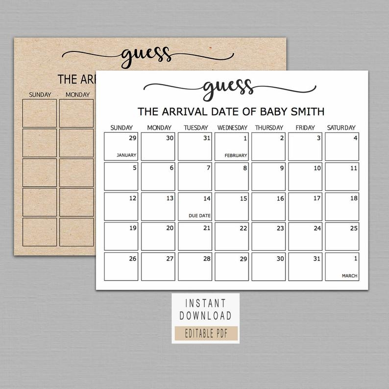 Guess Baby Birthday Calendar, Baby Due Date Calendar Poster with Due Date Guess February Calendar
