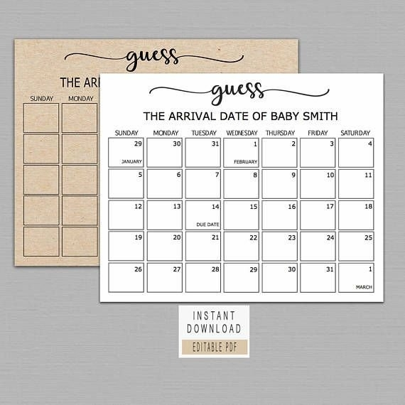 Guess Baby Birthday Calendar, Baby Due Date Calendar Poster with Guess The Due Date Template Image