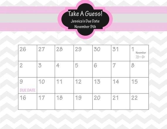 Guess Baby Due Date Calendar Template – Mytemplates in Free Baby Guess Calendar Template