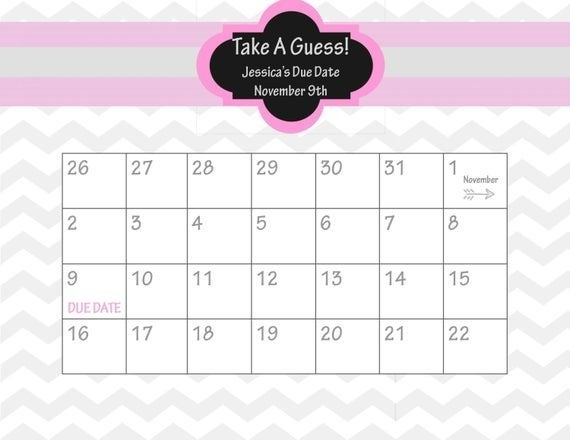Guess Baby Due Date Calendar Template – Mytemplates in Guess The Due Date Calendar Template Image