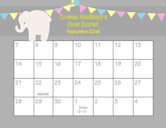 Guess Baby Due Date Calendar Template – Mytemplates inside Baby Birth Date Guess Calender