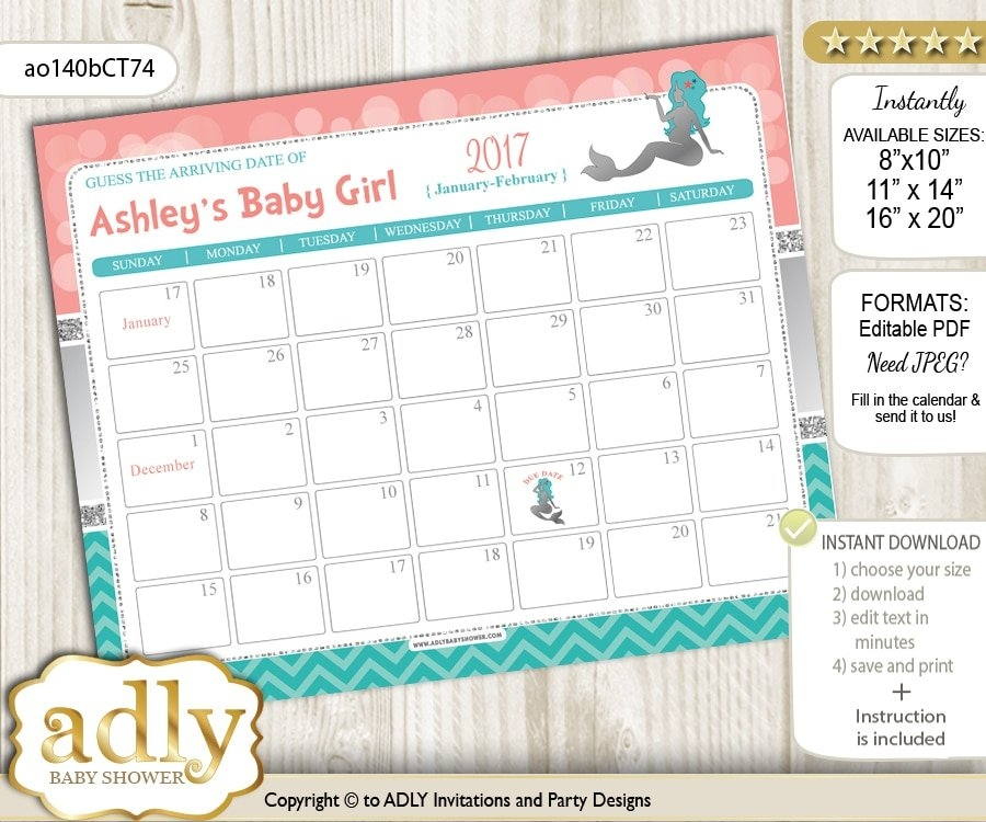 Home, Furniture & Diy Blue Chevron Baby Due Date Calendar in Guess When Baby Will Come Calendar Photo