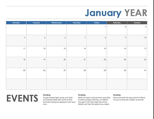 Horizontal Calendar (Monday Start) regarding Monday Through Friday Calendar Images Photo