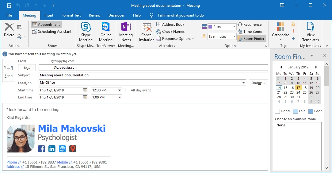 How To Automatically Insert Email Signatures Into Outlook in Calendar Invite Example Outlook