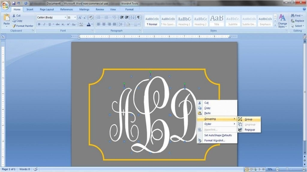 How To Create A Monogram In Word | Monogrammed Labels, Words with How To Make A Yearly Calendar In Wordperfect Photo