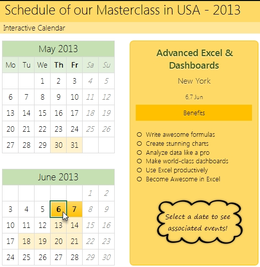 How To Create Interactive Calendar To Highlight Events within Perpetual 28 Day Expiration Calendar Image