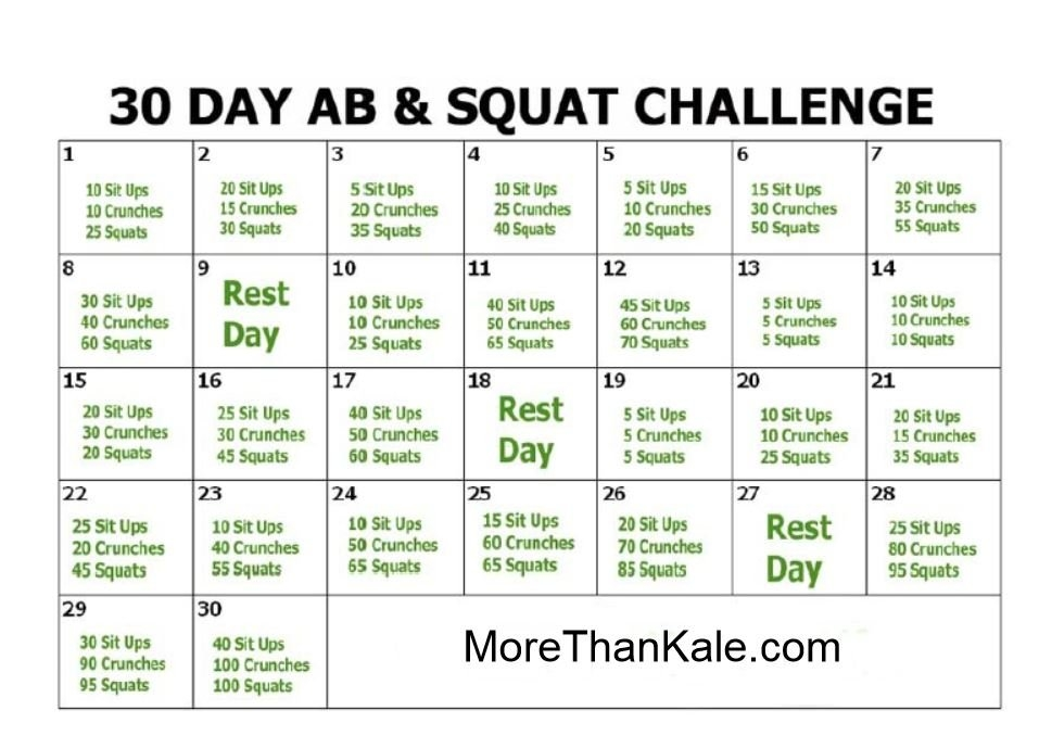 How To Do The 30 Day Ab And Squat Challenge | More Than Kale within 30 Day Squat Challenge Printable