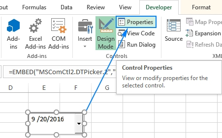 How To Insert Calendar In Excel (Date Picker & Printable within Can You Make Date Drop Down Pickers In Excel Image