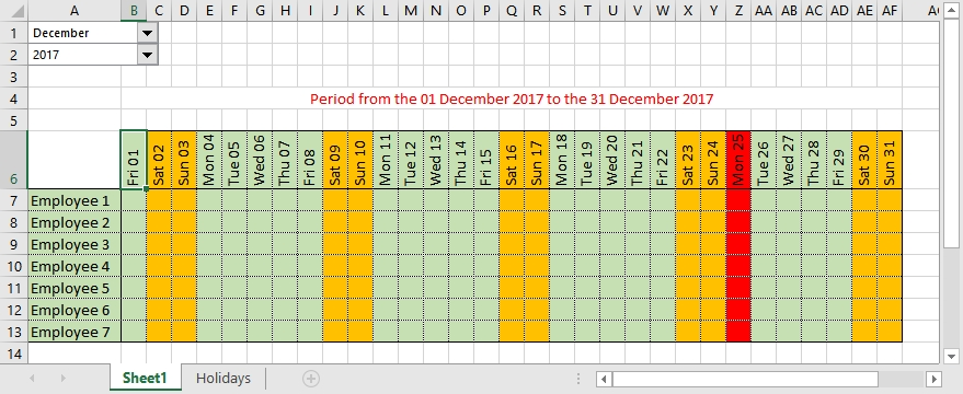 How To Make Automatic Calendar In Excel with Excel Time Off Calendar Graphics
