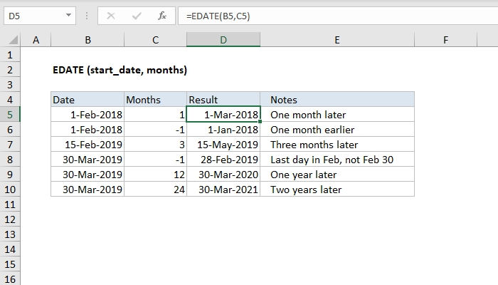 How To Use The Excel Edate Function | Exceljet throughout 2020 28 Day Expiration Calendar Image