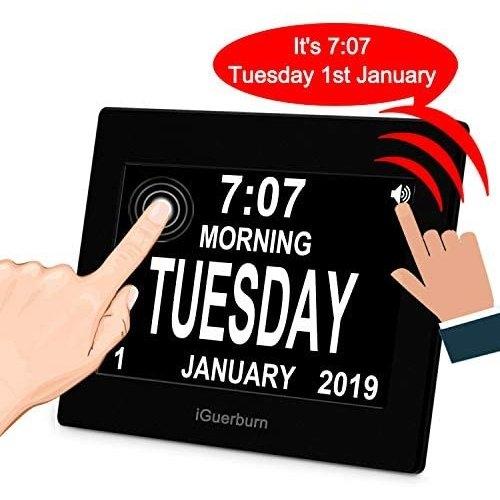 "Iguerburn 8"" Digital Talking Touchscreen Day Calendar Alarm Clock Seniors  Elderly Dementia Alzheimer's Memory Loss in Dementia Calendar"