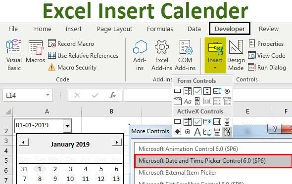 Insert Calendar In Excel | Top Examples To Create & Insert pertaining to How To Create A Drop-Down Calendar In Excel Template Graphics
