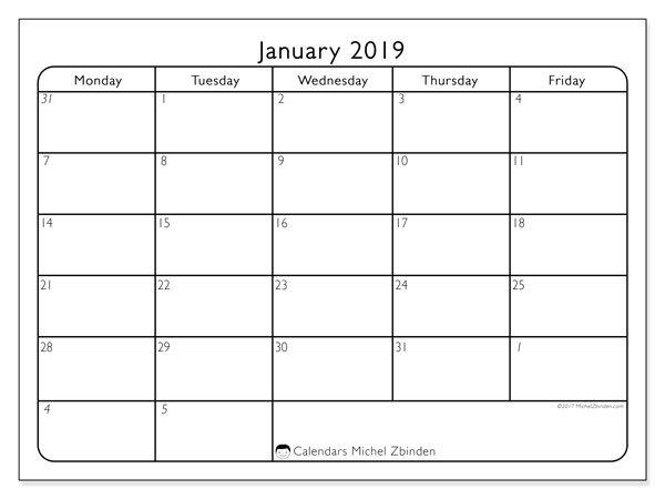 January 2019 Calendar (74Mf) - Michel Zbinden En with regard to Printable Calendar Weekdays Only Image