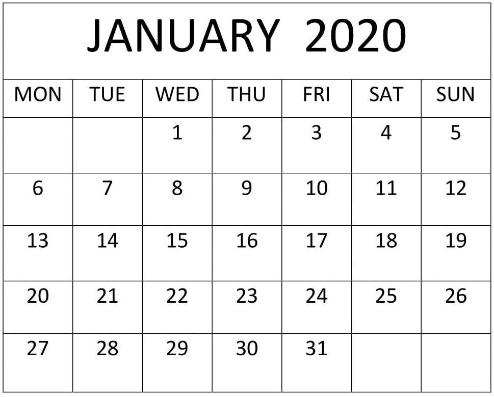 January 2020 Calendar Excel,pdf Template - Free Latest throughout 2020 Calendar Pdf