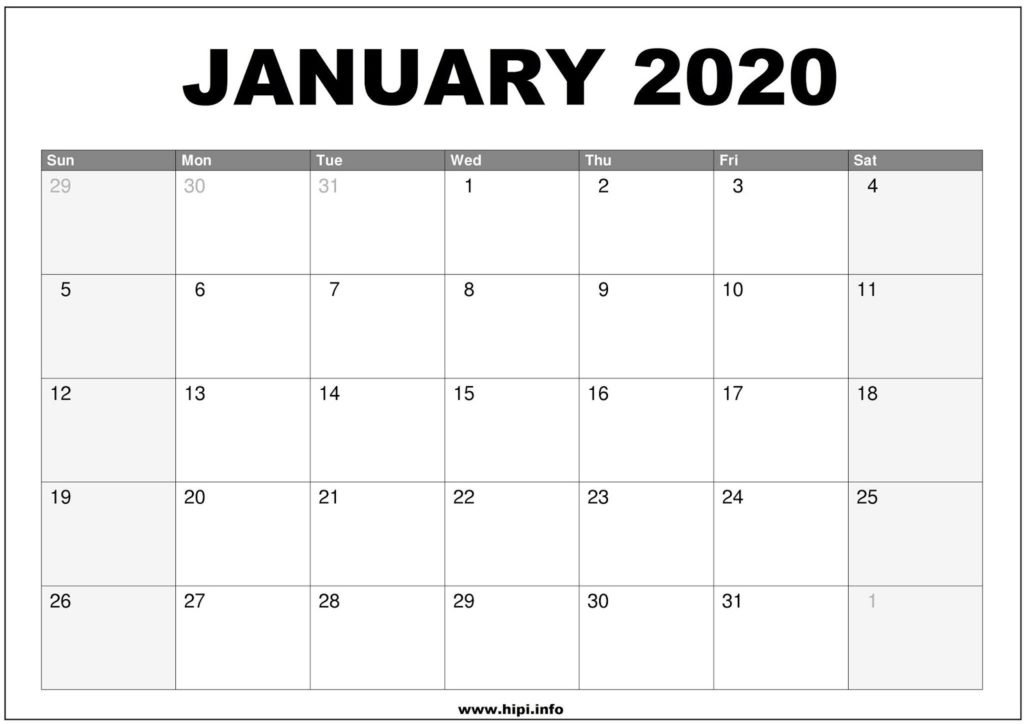 January 2020 Calendar Printable - Monthly Calendar Free with Printable Monthly Calendar 2020 Graphics
