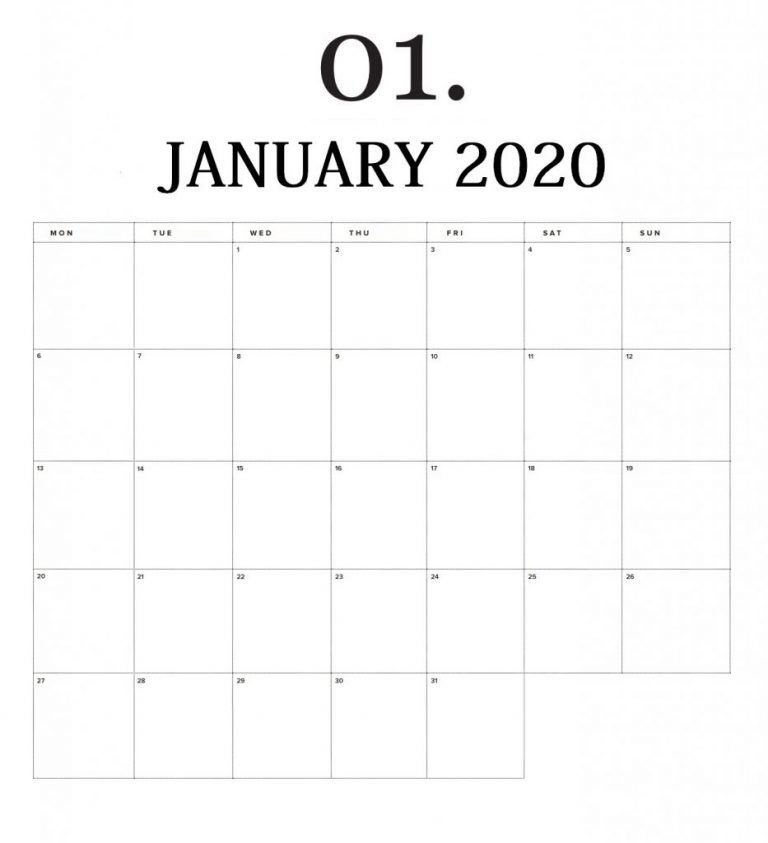 January 2020 Wall Calendar To Print | Print Calendar, Free for 01 2020 Calendar To Print