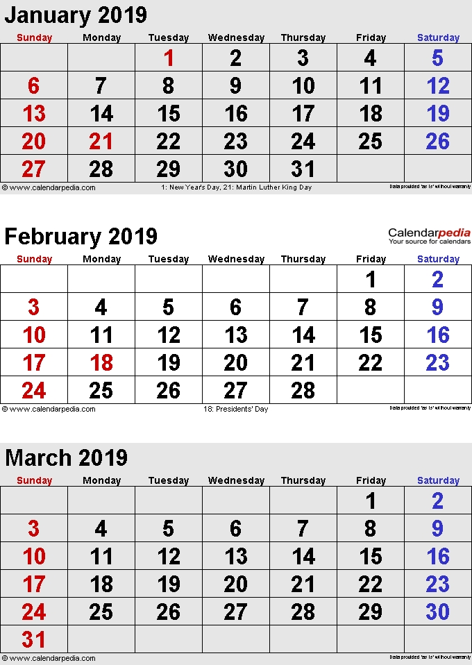 January February March 2020 Calendar Printable Pdf Word intended for 3 Month  Word Calendar
