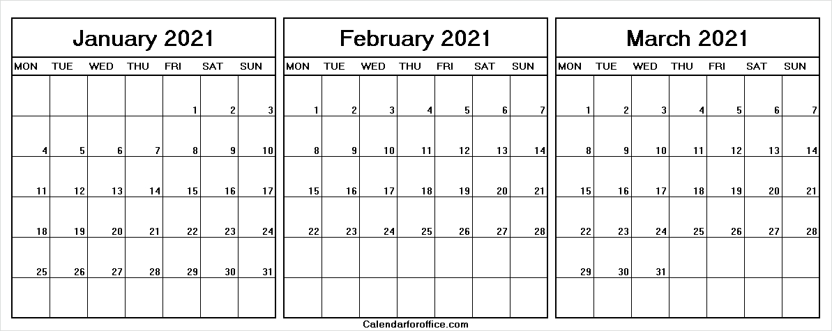 January To March 2021 Calendar Monday To Friday - Monthly throughout Calendar With Only Weekdays