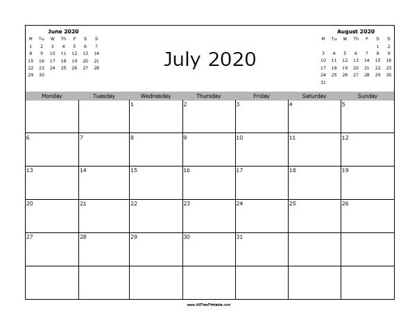 July 2020 Calendar - Free Printable - Allfreeprintable throughout 2020 Printable Camping Calendar Photo