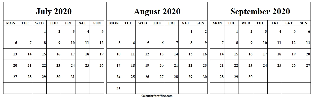 July To September 2020 Calendar Monday To Friday - Pinterest with Calendar With Only Weekdays Image