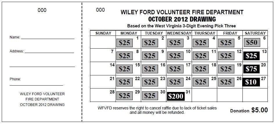 Jumbo Calendar Raffle Ticket | Raffle Tickets, Raffle for Daily Number Lottery Fundraiser Tickets Photo
