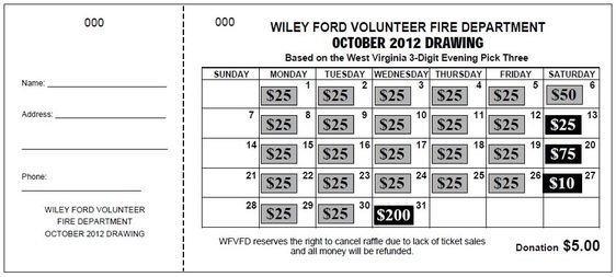 "Jumbo Calendar"" Raffle Ticket | Raffle Tickets, Raffle intended for Calender Number Fundrasier"