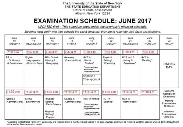 June 2017 Regents Schedule / Overview intended for Freetime Magazine Rochester Ny Calendar